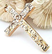 Vintage 14 Karat Rosey Gold 51.00mm Floral Hand Engraved Cross Charm Pendant