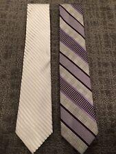 Set of 2 Studio Designer Men's XL Silk Neck Ties Purple & Silver