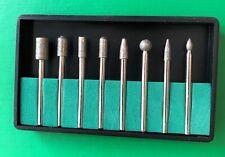 Set of 8 large 120 grit Diamond burrs 3mm shank, Head diameter up to 6mm