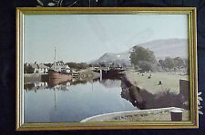 GLASS FRAMED PHOTO PICTURE OF RURAL COUNTRY CANAL SCENE WALES? 48 x 32.5 cm