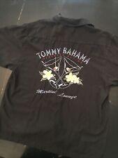 TOMMY BAHAMA Mens XL Embroidered Paradise Nation Martini Lounge  Black 100% Silk