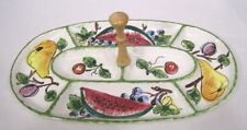 Vtg Snack Tray Hand Painted Fruit Made in Italy Watermelon Pears