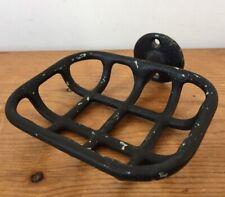 Vtg Antique Black Cast Iron Wall Mountable Rectangle Soap Holder Dish Basket