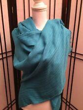 NWT Women's ANNE KLEIN Turquoise Blue Large Wrap Pashmina Fringe Scarf Shawl