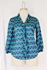 CYNTHIA ROWLEY Hoot Owls Blouse XS Blue Green Tie Career Office 3/4 Sleeve