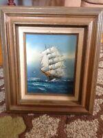 VtG Hewitt Jackson Ship Clipper Signed Nautical Wooden Framed Original Oil Art