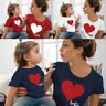 Family Mother and Daughter Matching Clothes  T-Shirt Heart Printed Tops Blouse