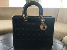 Christian Dior Lady Dior Bag Handbag Purse Large Black Patent Leather 76aa5756adc70