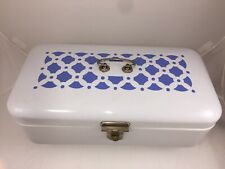 Vintage Bread Box Porcelain Enamel Hinged White w Blue Graphics Design Germany