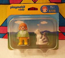 2003 Playmobil 1.2.3. GIRL WITH CAT Kitty Playset #6728 Mint Figure Pet Set MIB