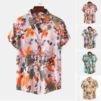 Vintage Hommes Chemises à manches courtes Fleur Imprimé Déguisements Chemises