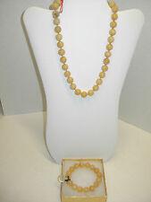 """Yellow Jadeite Jade 13 mm 2 Piece 18"""" Necklace & Stretch Bracelet Set NWT!!!"""