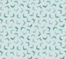 Lewis & Irene - 'Spindrift'  - Dolphins on Blue 100% Cotton quilt/craft