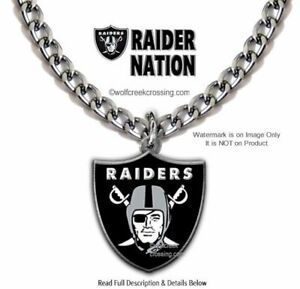 LARGE RAIDER NATION NECKLACE - STAINLESS STEEL CHAIN - NFL FOOTBALL - FREE SHIP'