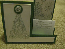 Snow Swirled Step Christmas Tree Handmade Card Kit w/some Stampin up 4