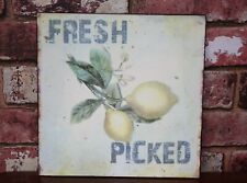 Kitchen FRESH PICKED Lemons Metal Hanging Wall Sign