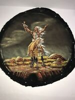 SANCHEZ INDIAN MAN ON HORSE ORIGINAL ACRYLIC ON VELVET WESTERN PAINTING(No Frame