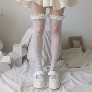 Women Lolita Stockings Thigh High Lace Up Over Knee Hollow Out Gothic Sexy Socks