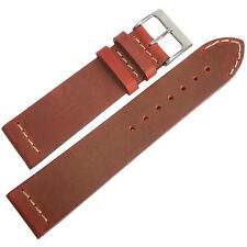 20mm ColaReb Venezia Mens Red Leather Made in Italy Aviator Watch Band Strap