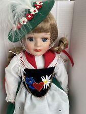 "Schneider Porcelain German Doll Handmade Blond Hair Ponytails Original 12"""