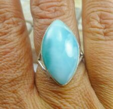 OPEN BACK Dominican LARIMAR 925 SOLID  Sterling Silver RING SZ 7 TOP QUALITY