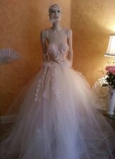 Ivory Lace Sequin Crystal Victorian Embroidered Corset Bridal Wedding Ball Gown