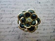 Gold Black Vintage Retro Flower Floral Crystal Jewellery Adjustable Ring