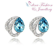 18K White Gold GP Made With Swarovski Crystal Butterfly Teardrop Stud Earrings