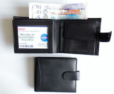 EU Note size leather wallet 6 card slots coin pocket zipped section BLACK Bifold