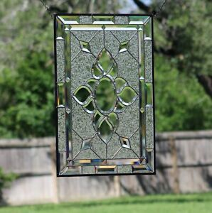 """"""" Clearly Stylish"""" ≈26.5 X 17.5 -Beveled Stained Glass Window Panel-👀"""