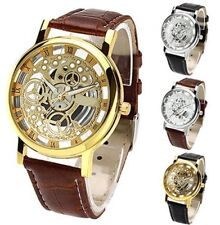 Men's Women's Roman Numerals Faux Leather Band Skeleton Analog Wrist Watches UK