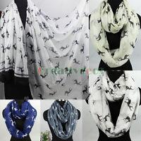 Fashion Women's Animal Deer Print Long Shawl/Infinity Loop Cowl Scarf Lady Shawl