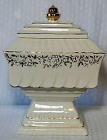 """Vintage 1961 McCoy Porcelain """"Wedding Cake"""" Cookie Jar, 22K Gold"""