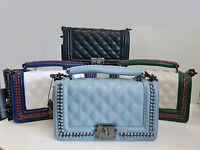 Quilted Plaid Women Messenger Bag Chains Cross body handbag shoulder Bags
