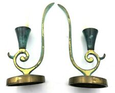 "2ct 7� Pair of Green Metal Design Candle Sticks ""Made In Israel� Vintage"