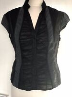 LINEA, BLACK RUFFLE CAP SLEEVE TOP/BLOUSE, 36 INCH BUST, PRE-LOVED