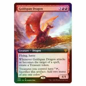 Goldspan Dragon - Extended Art - FOIL - NM/M - Kaldheim - MTG