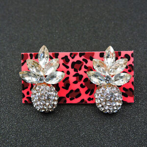 Betsey Johnson Rhinestone White Enamel Pineapple Ear Stud Earrings