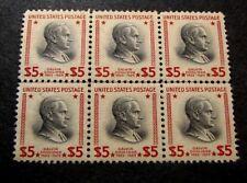 Us Stamp Scott# 834 Coolidge 1938 Pane of 6 Mng W/Center Line C427