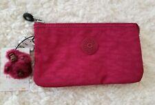 Kipling Large Creativity Nylon Cosmetic Pouch Deep Red Monkey Keyfob Juliet NWT