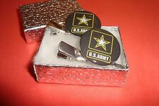 #2 Two (1 pair) U.S.ARMY Star design Silver Tone Hair Clips - Barrettes / New