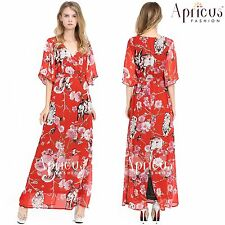 Women Plus Size Spring Summer Party Prom Floral Boho Kimono Long Maxi Dress Plus 3xl AU 22 24