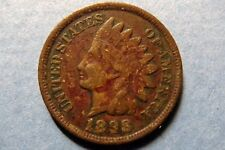 "1898  Antique INDIAN HEAD BRONZE CENT, Very Fine ""RED"" Philadelphia Mint Coin"