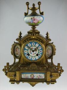 Antique 19th Century French Sèvres Style Mantel Clock Vincenti&Cie Circa 1880