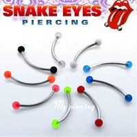 "16g 14g~9/16"" 5/8"" 3/4"" Steel UV Ball Curved Barbell Tongue Snake-Eyes Piercing"