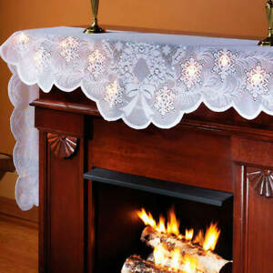 Lighted White Lace Christmas Wreath and Snowflakes Polyester Mantel Scarf