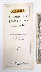 OLD BROCHURE ROGERS SPRAYING LACQUER VARNISHES FORD COLOR PAINT WHITE LEAD WORKS