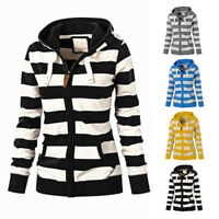 Women Ladies Zipper Tops Blouse Hoodie Hooded Sweatshirt Coat Jacket Slim Jumper