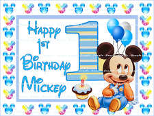 MICKEY MOUSE BABY 1ST BIRTHDAY: Personalized Edible Cake Topper FREE SHIP Canada