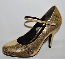 POUR LA VICTOIRE SZ 8.5 M TEXTURED GOLD LEATHER MARY JANE PUMPS HEELS SHOES